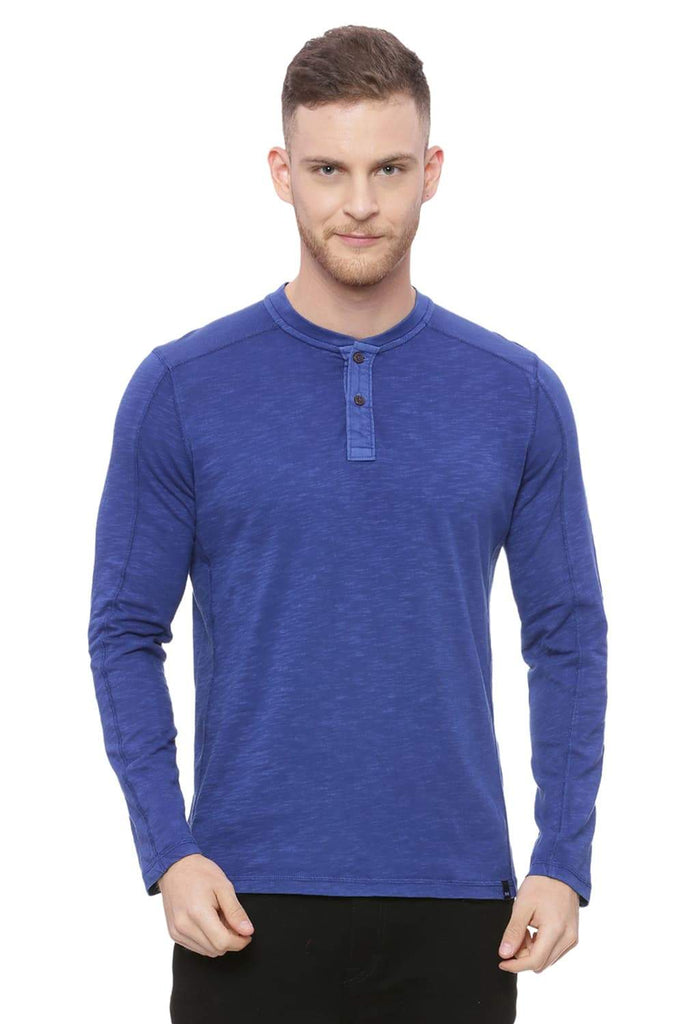 BASICS MUSCLE FIT ROYAL BLUE HENLEY T SHIRT-18BTS37858 (4491011883089)