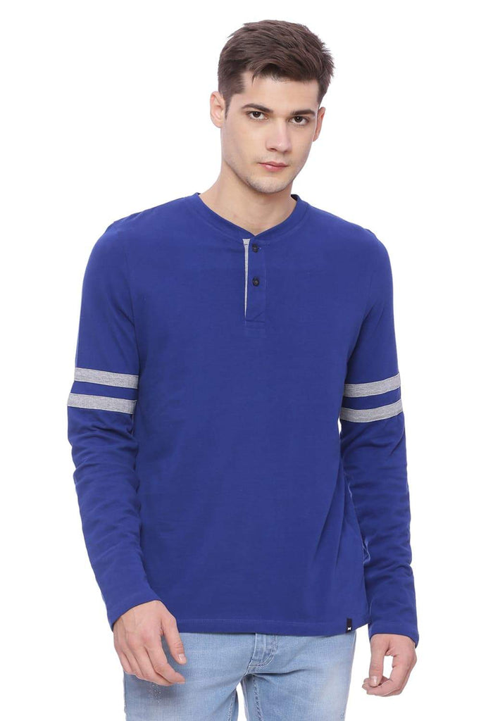 BASICS MUSCLE FIT ROYAL BLUE HENLEY T SHIRT-18BTS37988 (4491020042321)