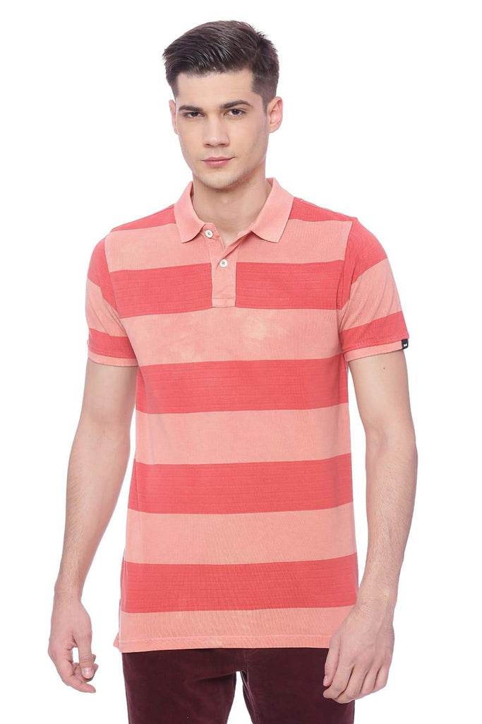 BASICS MUSCLE FIT SALMON PEACH POLO T SHIRT-18BTS38256 (4491058118737)