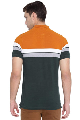 BASICS MUSCLE FIT SCARAB GREEN STRIPES POLO T SHIRT-19BTS40990 (4491587190865)