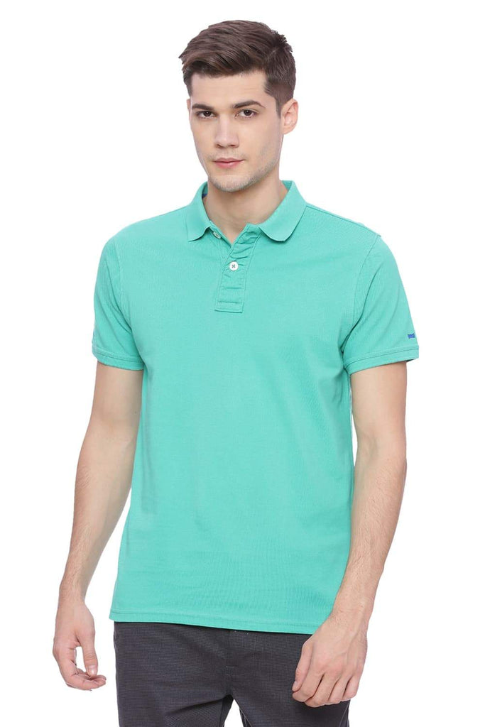 BASICS MUSCLE FIT SEA GREEN POLO T SHIRT-18BTS38411 (4491023286353)