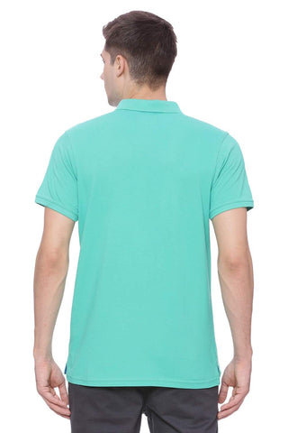 Basics Muscle Fit Sea Green Polo T Shirt Front