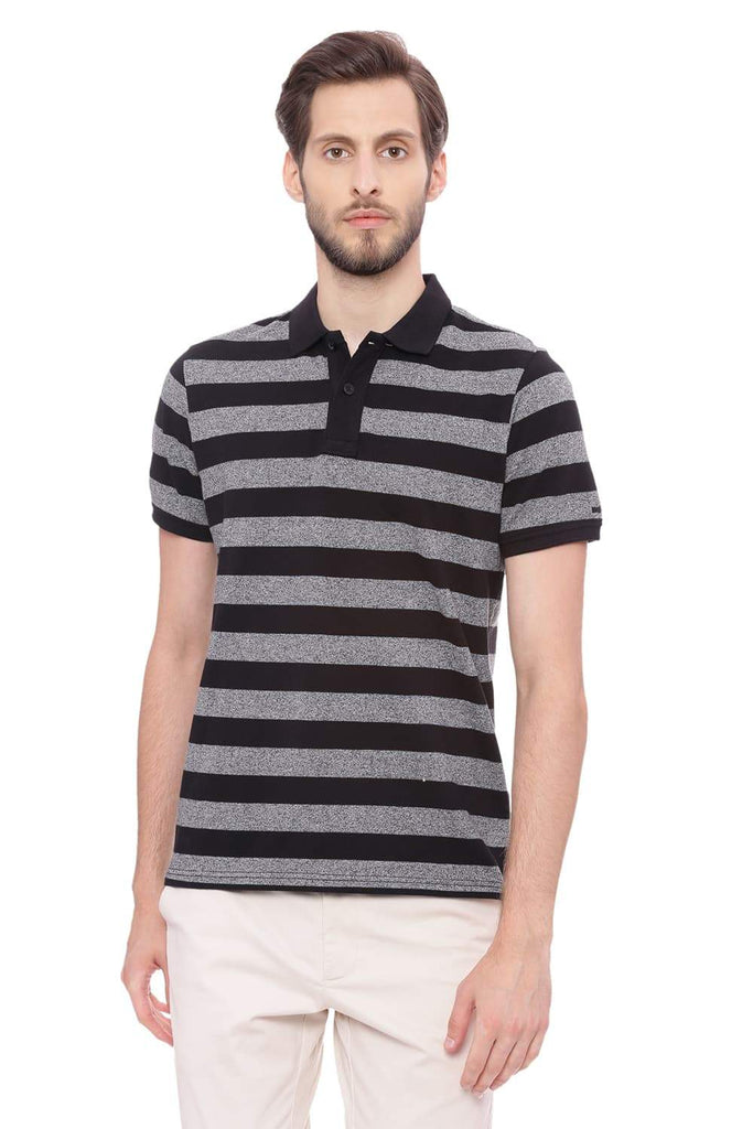 BASICS MUSCLE FIT SMOKEY BLACK STRIPED POLO T SHIRT-18BTS39426 (4491445403729)