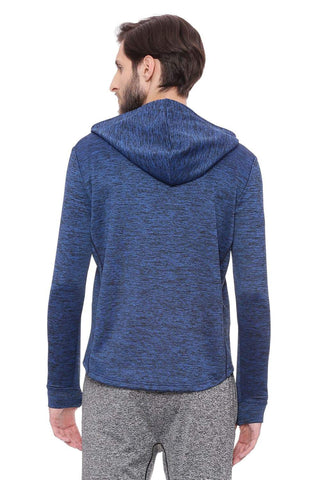 BASICS MUSCLE FIT SNORKEL BLUE HOODED KNIT JACKET-18BJK39610 (4491533123665)