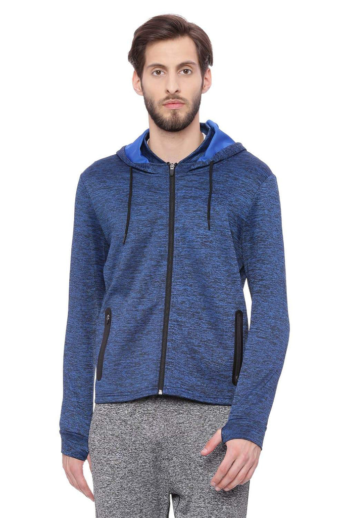 Basics Muscle Fit Snorkel Blue Hooded Knit Jacket Front