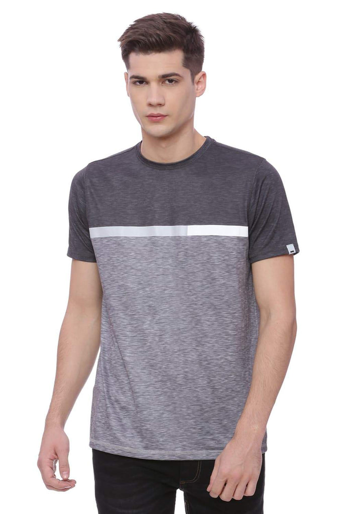 Basics Muscle Fit Space Grey Crew Neck T-Shirt Front