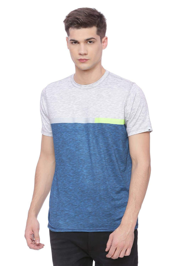 Basics Muscle Fit Spanish Blue Crew Neck T-Shirt Front