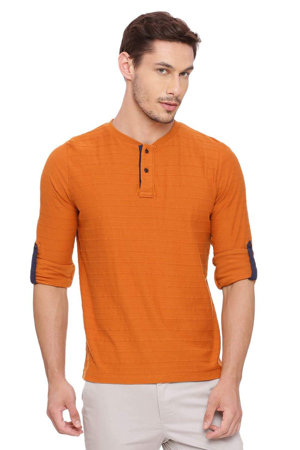 BASICS MUSCLE FIT SUDAN BROWN HENLEY LONG SLEEVE T SHIRT-18BTS39491 (4491472797777)