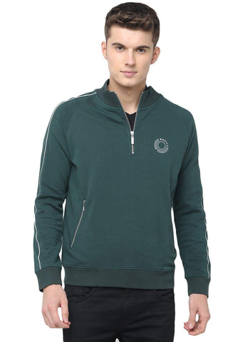 BASICS MUSCLE FIT SYCAMORE GREEN HIGH NECK KNIT JACKET-18BJK39724 (4491553701969)
