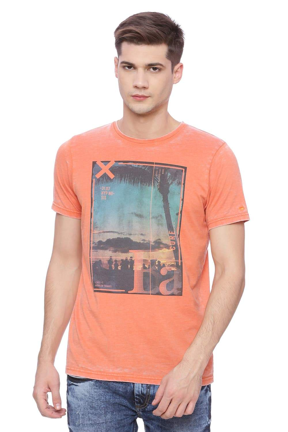 BASICS MUSCLE FIT TANGERINE ORANGE CREW NECK T SHIRT-18BTS37844