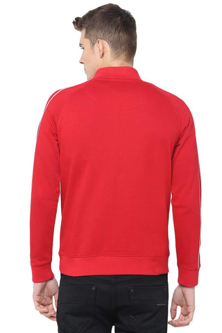 BASICS MUSCLE FIT TANGO RED HIGH NECK KNIT JACKET-18BJK39725 (4491553767505)