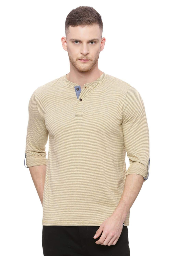 BASICS MUSCLE FIT TAPENADE KHAKI HENLEY T SHIRT-18BTS37855 (4491087315025)