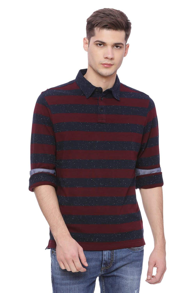 BASICS MUSCLE FIT TAWNY WINE STRIPED POLO T SHIRT-18BTS38260 (4491021385809)