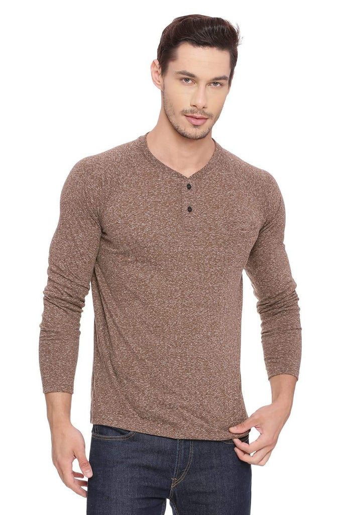 BASICS MUSCLE FIT TOFFEE HENLEY LONG SLEEVE T SHIRT-18BTS39505 (4491487739985)