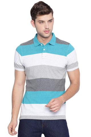 BASICS MUSCLE FIT TURQUOISE HEATHER STRIPED POLO T SHIRT-19BTS41014 (4491588010065)