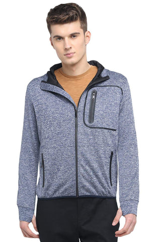 BASICS MUSCLE FIT TWILIGHT BLUE HOODED KNIT JACKET-18BJK39608