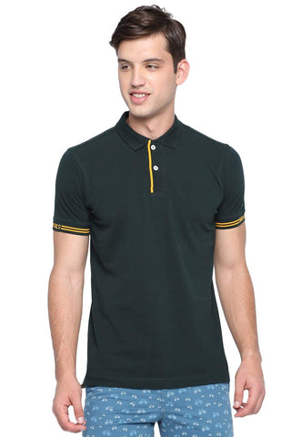 BASICS MUSCLE FIT UNI GREEN POLO T SHIRT-19BTS40881 (4491583160401)