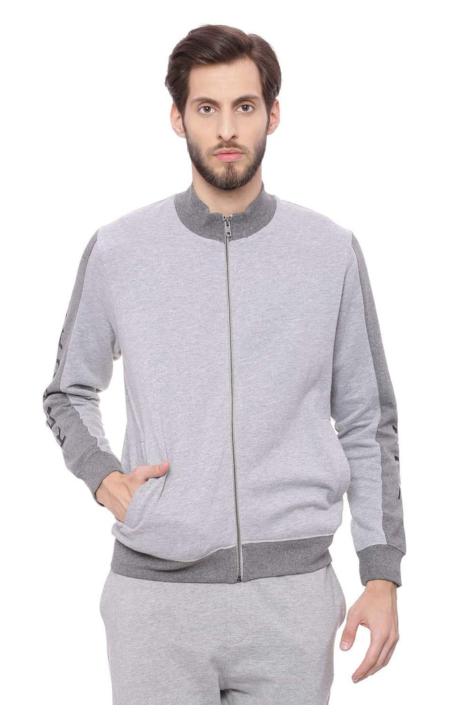 BASICS MUSCLE FIT VAPOROUS GREY HIGH NECK KNIT JACKET-18BJK39704 (4491139416145)