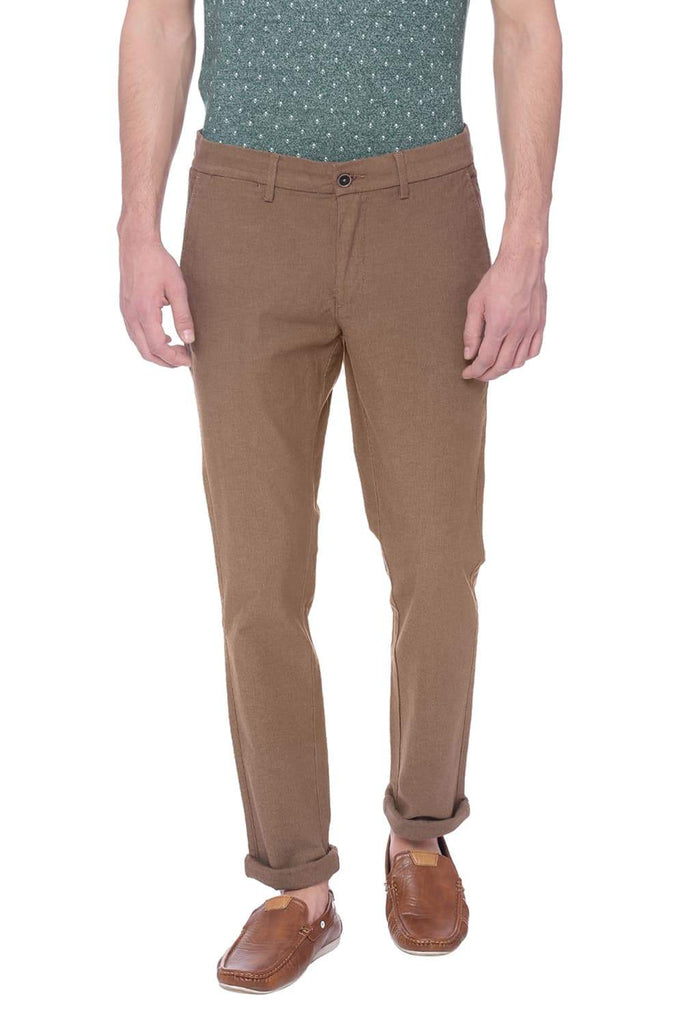BASICS SKINNY FIT ANTIQUE BRONZE BROWN STRETCH TROUSER-18BTR38497 (4491112448081)