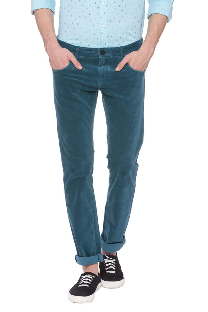 BASICS SKINNY FIT BLUE CORAL TURQUOISE CORDUROY STRETCH TROUSER-18BTR37529 (4491054121041)
