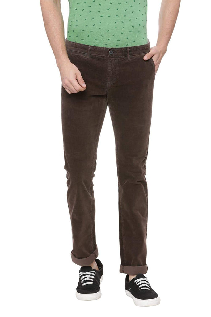 BASICS SKINNY FIT FALCON BROWN CORDUROY STRETCH TROUSER-18BTR37801 (4491104321617)