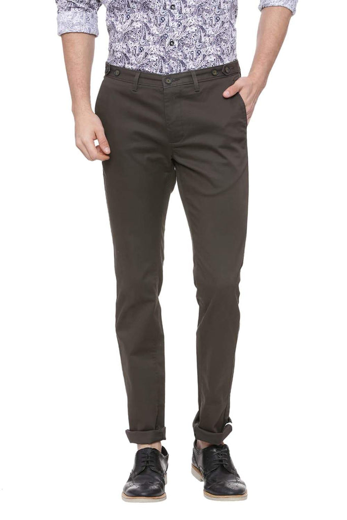 BASICS SKINNY FIT IVY GREEN STRETCH TROUSER-18BTR38517 (4491110776913)