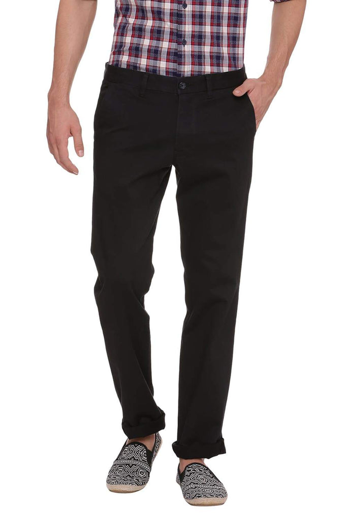 BASICS SKINNY FIT JET BLACK STRETCH TROUSER-18BTR38427 (4491119984721)