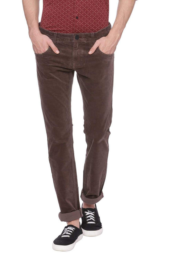 BASICS SKINNY FIT MAJOR BROWN CORDUROY STRETCH TROUSER-18BTR37527 (4491053989969)