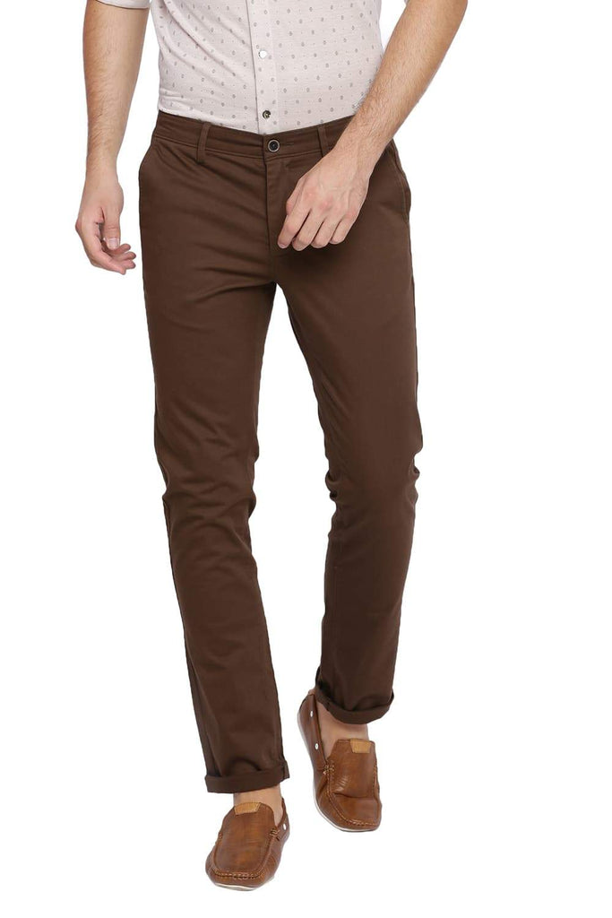 BASICS SKINNY FIT MAJOR BROWN STRETCH TROUSER-18BTR39944 (4491551965265)