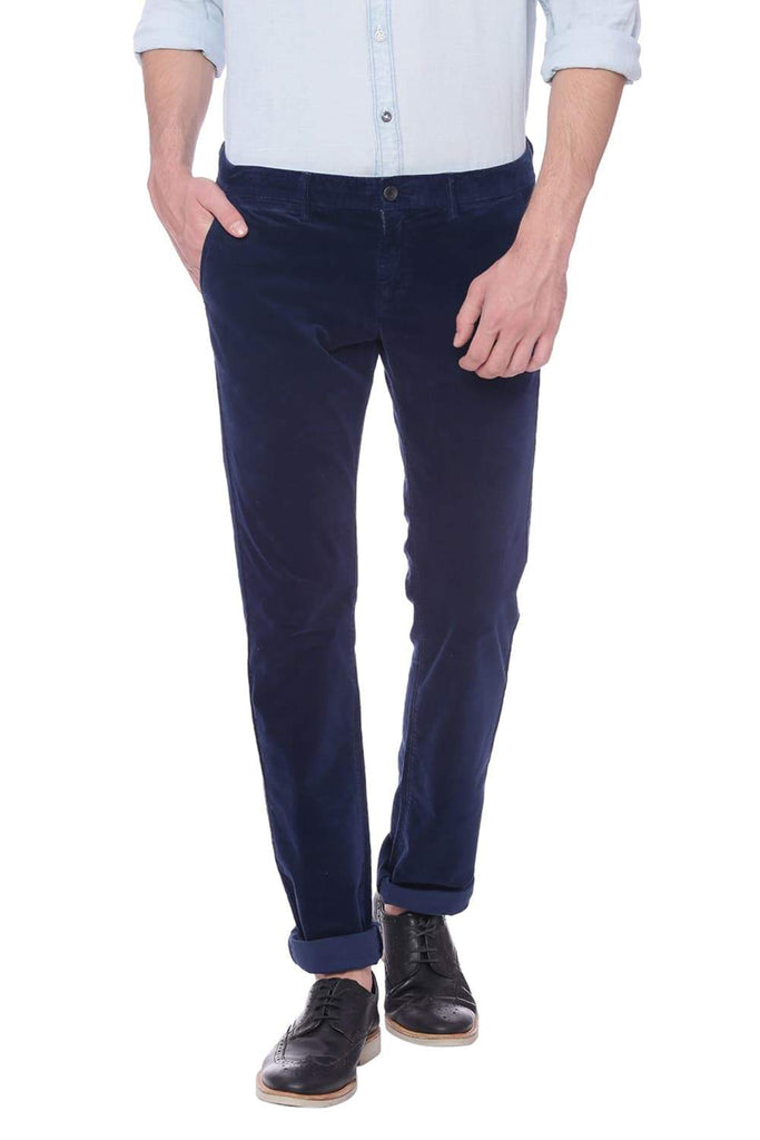 BASICS SKINNY FIT NAVY BLAZER CORDUROY STRETCH TROUSER-18BTR37800 (4491104288849)