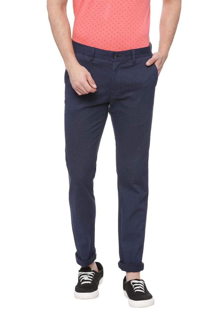 Basics Skinny Fit Navy Blazer Printed Trouser Front