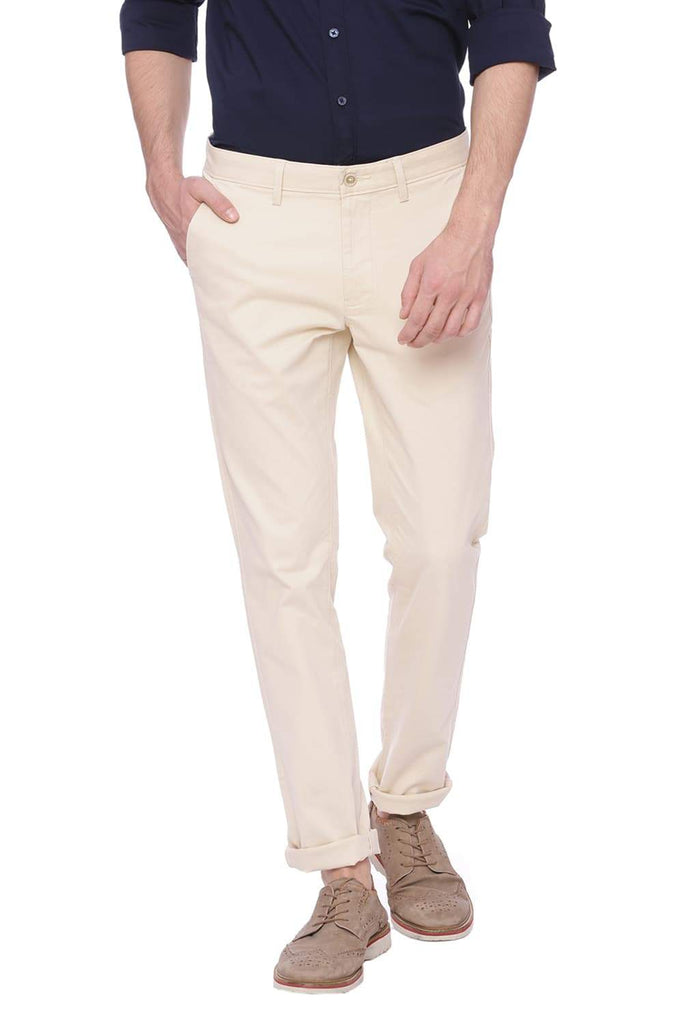 BASICS SKINNY FIT PARCHMENT ECRU STRETCH TROUSER-18BTR38438 (4491109302353)