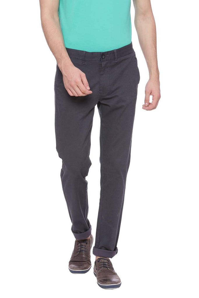 Basics Skinny Fit Periscope Grey Printed Trouser Front