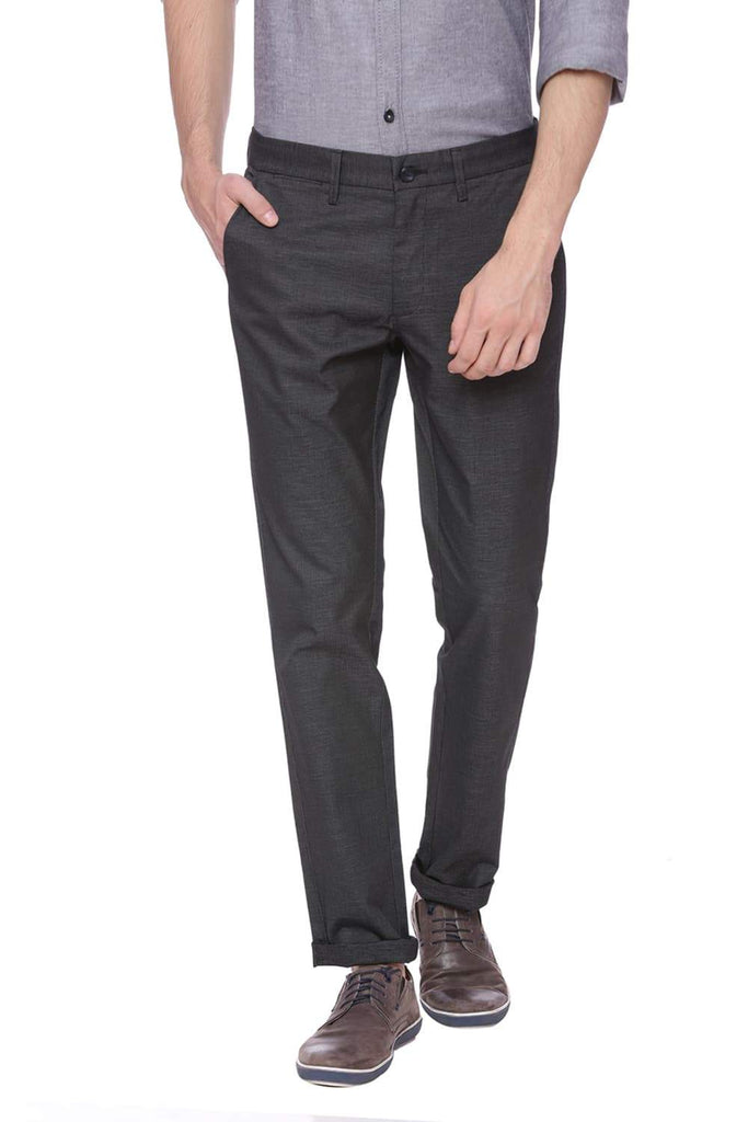 BASICS SKINNY FIT PHANTOM BLACK STRETCH TROUSER-18BTR38447 (4491082530897)