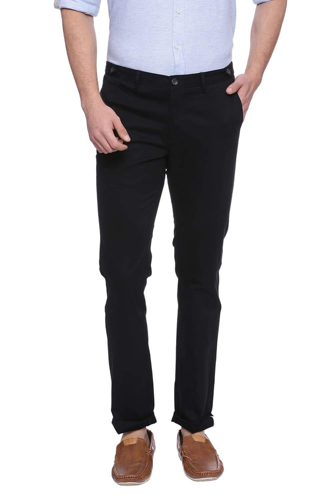 BASICS SKINNY FIT PHANTOM BLACK STRETCH TROUSER-18BTR38518 (4491110809681)