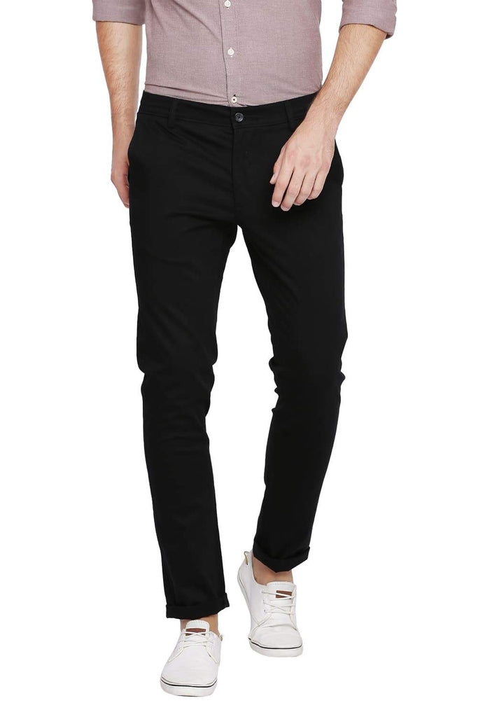 BASICS SKINNY FIT PIRATE BLACK STRETCH TROUSER-18BTR39946