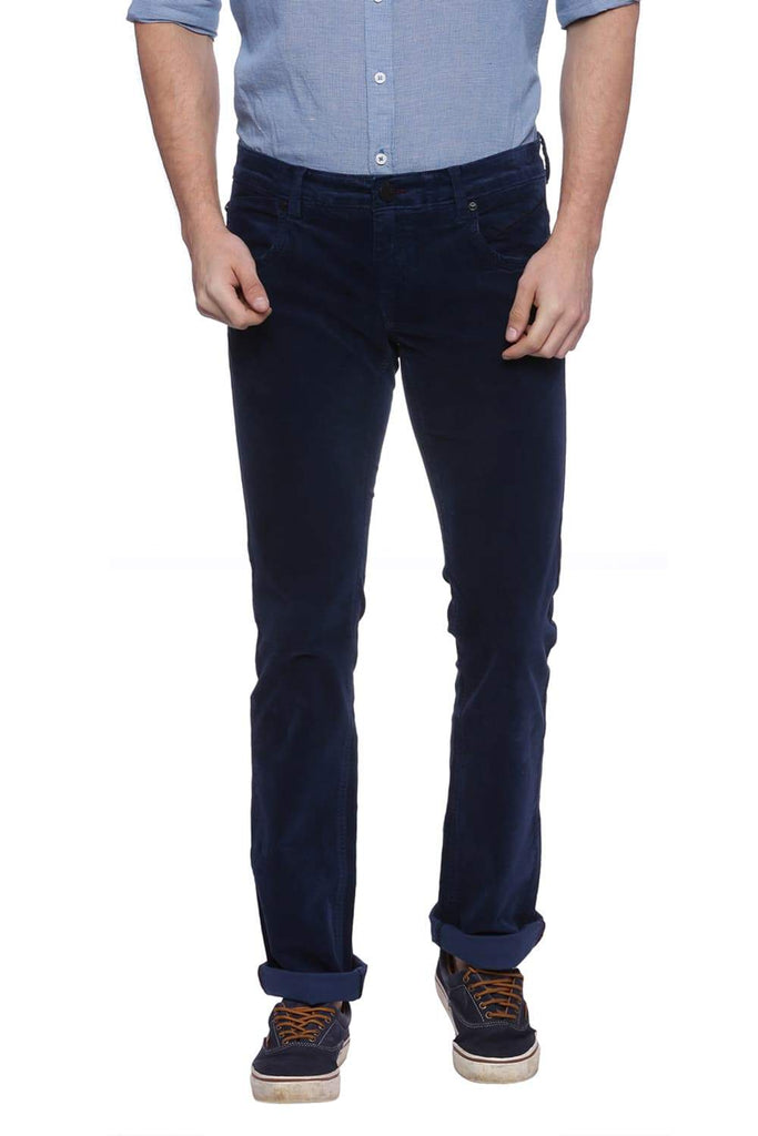 BASICS SKINNY FIT SALUTE NAVY CORDUROY STRETCH TROUSER-18BTR37526 (4491053891665)