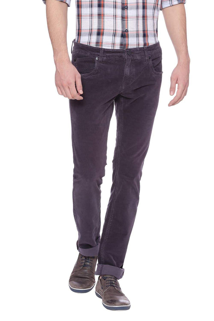 BASICS SKINNY FIT SHALE PURPLE CORDUROY STRETCH TROUSER-18BTR37530 (4491054415953)