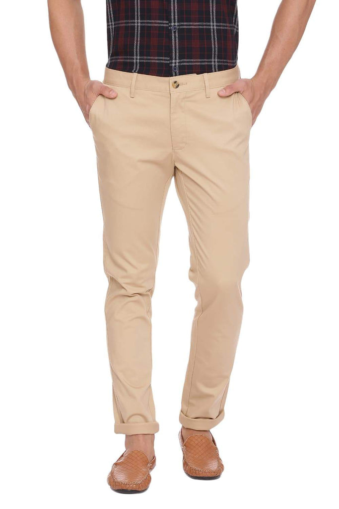 BASICS SKINNY FIT TAOS TAUPE STRETCH TROUSER-18BTR39909 (4491374297169)