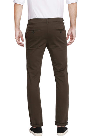 Basics Skinny Fit Tarmac Green Stretch Trouser Front