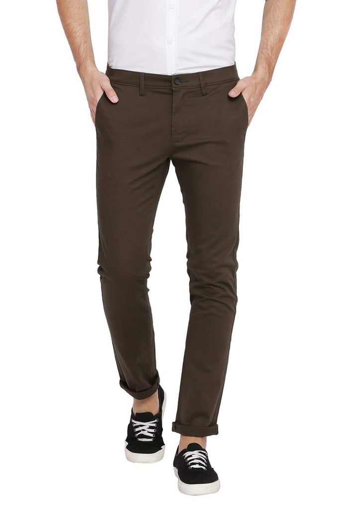 BASICS SKINNY FIT TARMAC GREEN STRETCH TROUSER-18BTR39943