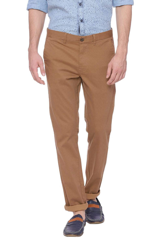 BASICS SKINNY FIT TIGER'S EYE KHAKI PRINTED STRETCH TROUSER-18BTR38451 (4491082596433)