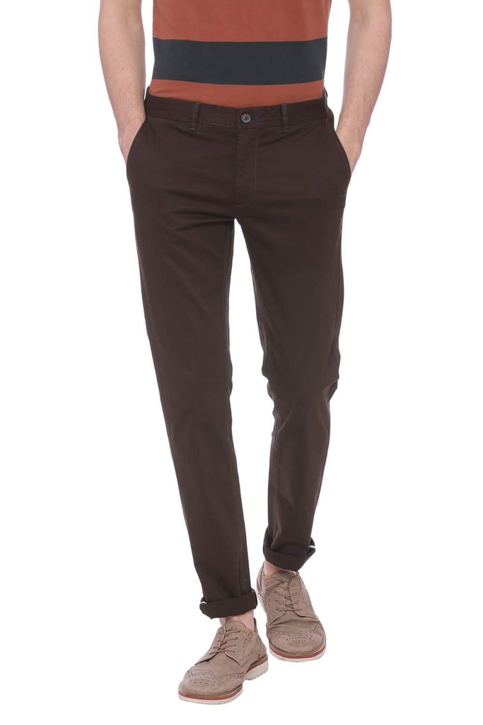 Basics Skinny Fit Wren Brown Stretch Trouser Front