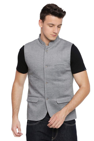 BASICS SLIM BANDHGALA GRIFFIN GREY KNIT JACKET-18BJK39615 (4491534663761)