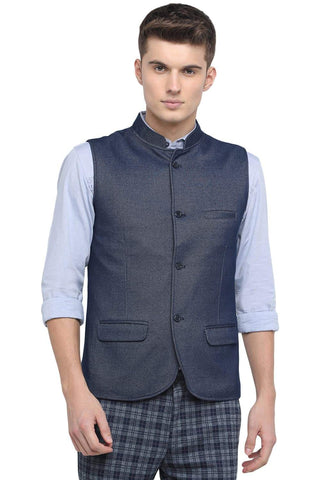 BASICS SLIM BANDHGALA MOOD INDIGO KNIT JACKET-18BJK39613 (4491553374289)