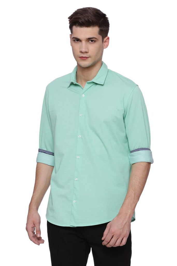 BASICS SLIM FIT ABSINTHE GREEN  LONG SLEEVE KNIT SHIRT-18BSH38022 (4491095998545)