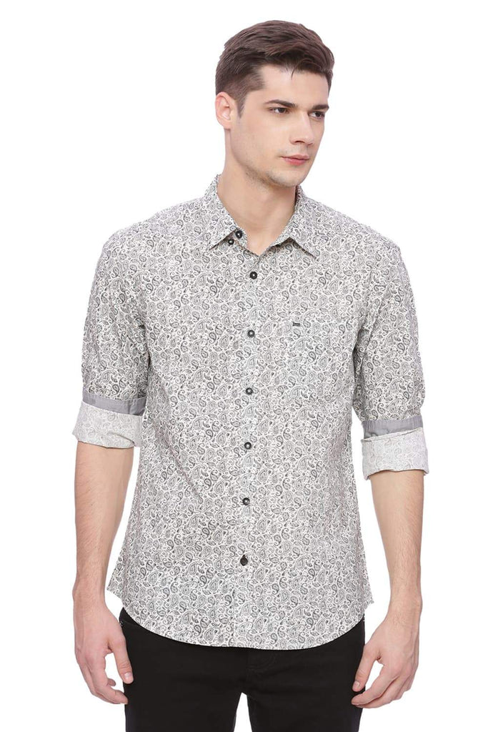 Basics Slim Fit After Glow Grey Shirt Front