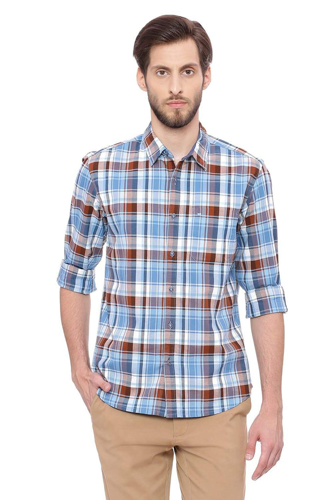 BASICS SLIM FIT AIR AQUA CHECKS SHIRT-18BSH38874 (4491449892945)