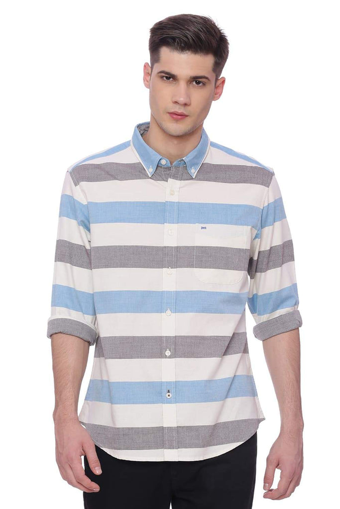 BASICS SLIM FIT ALASKAN AQUA WEFT STRIPES SHIRT-18BSH37611 (4491077255249)