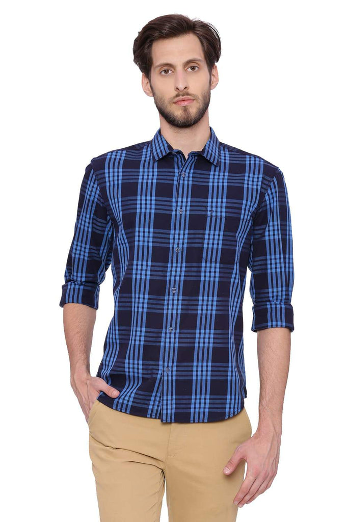 Basics Slim Fit Alaskan Blue Checks Shirt Front